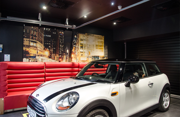 FireMaster® Fire Curtains protect the two joined sides of MINI Cooper and BMW