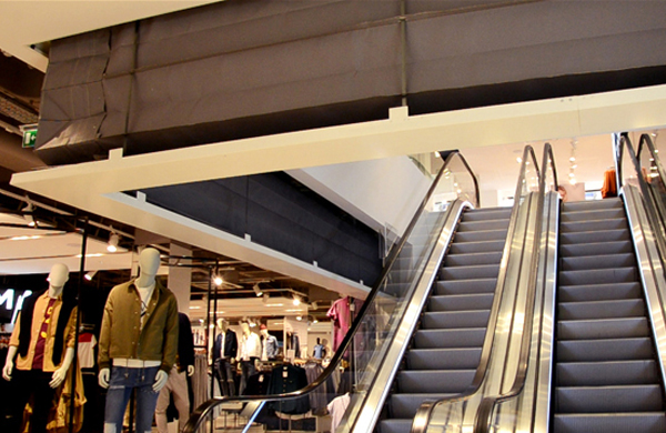 Coopers Fire concertina fire curtains at Topshop Retail Oxford