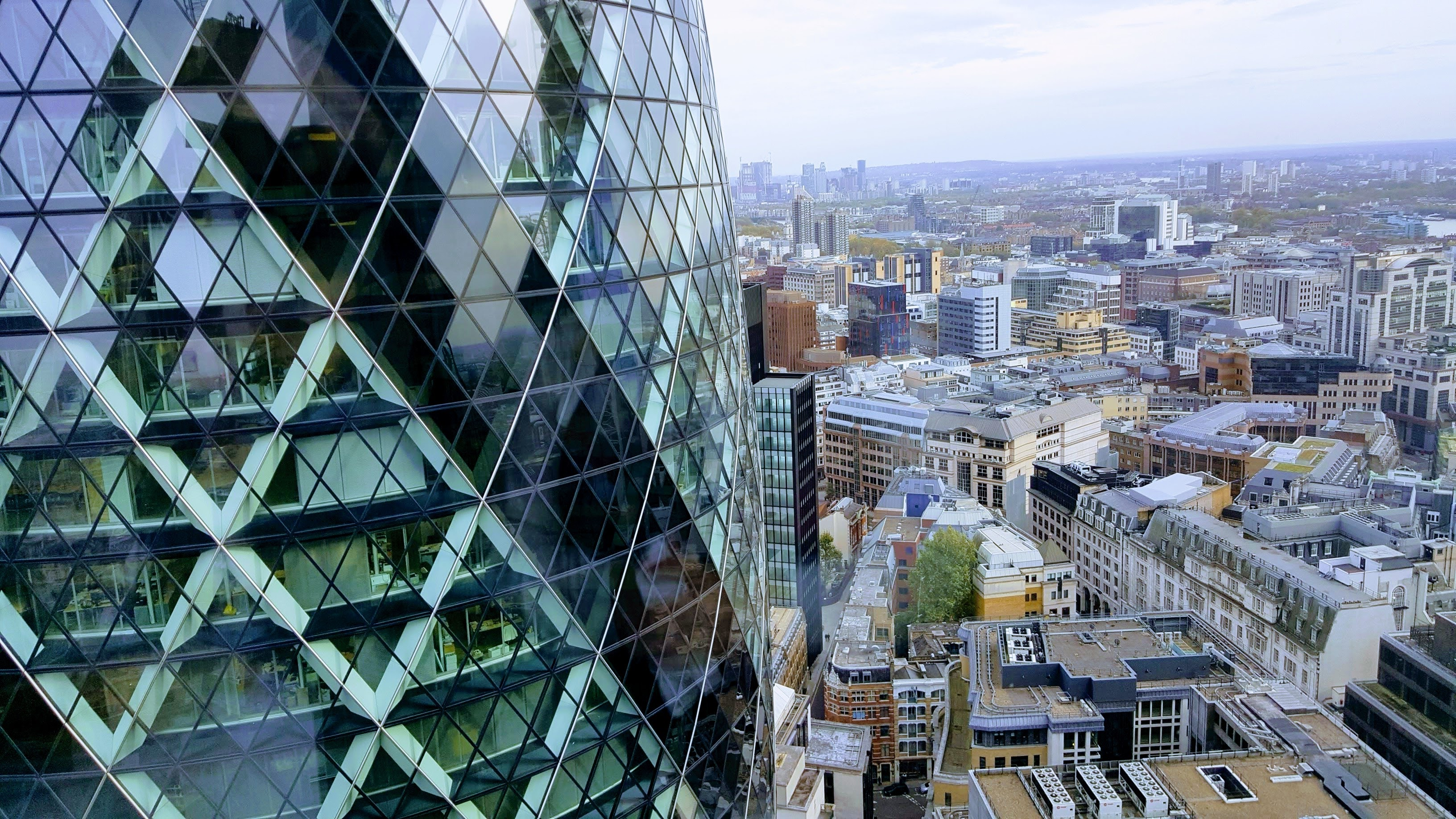 View of the Gherkin in London and the city in the background