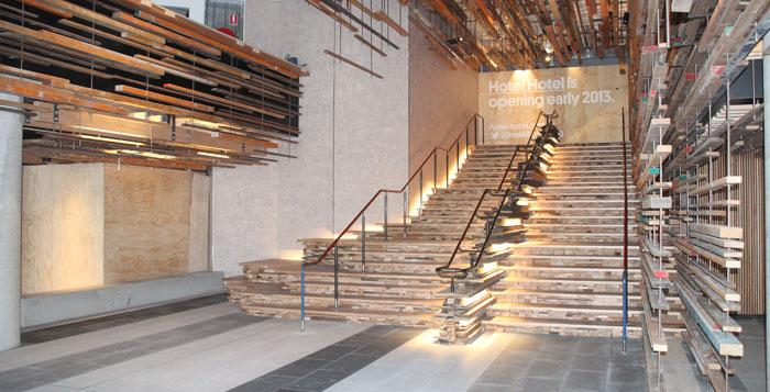 An open stairway in a hotel