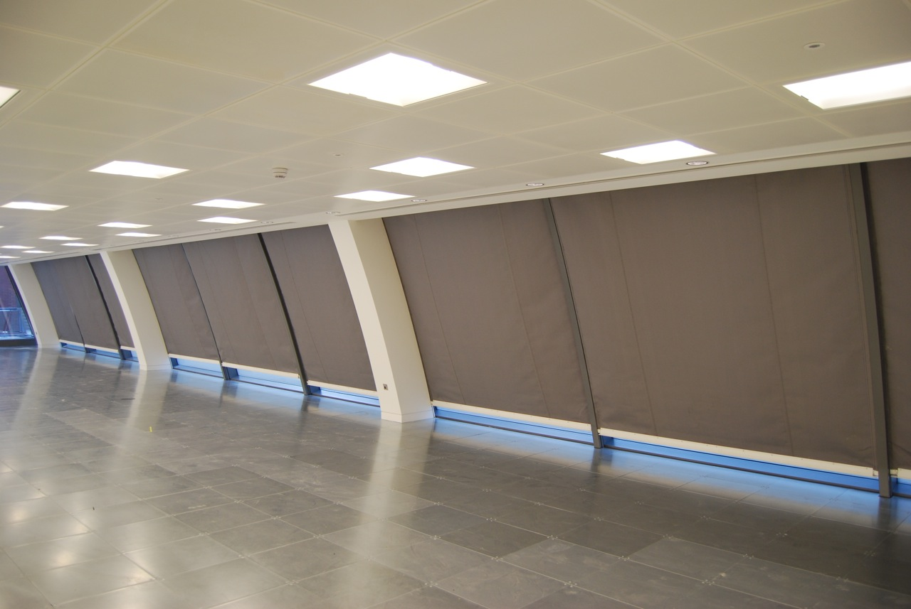 Coopers Fire FireMaster Fire Curtains providing boundary protection over windows in an office building London