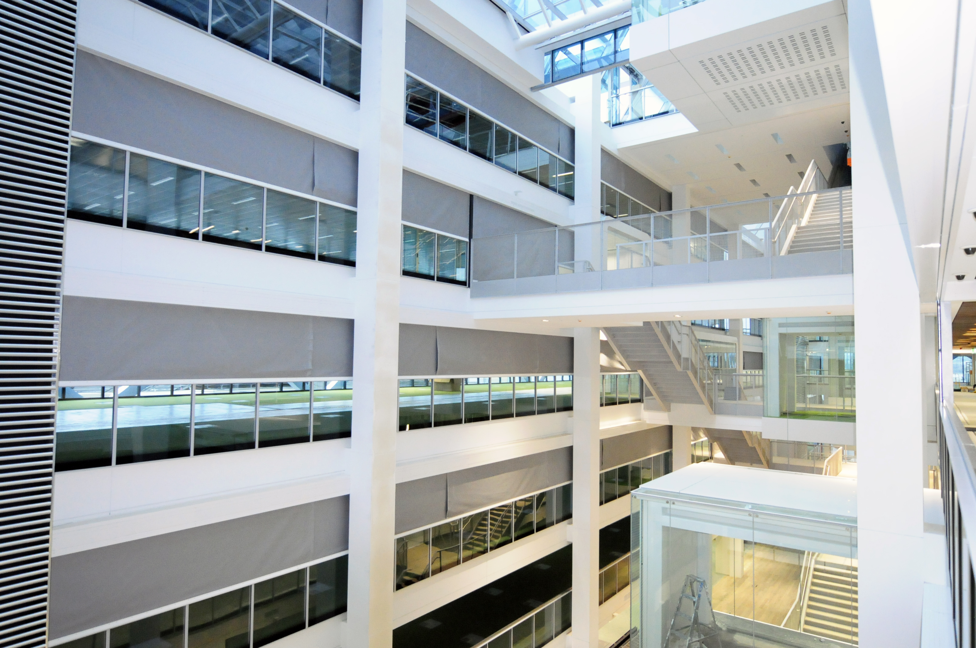 Coopers Fire FireMaster Fire Curtain protects an atrium from the spread of smoke and fire