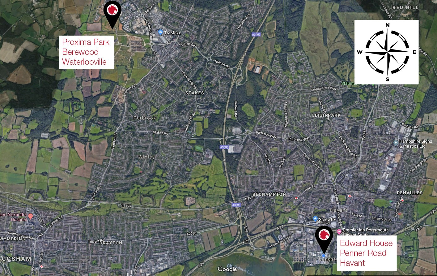 Map showing where Coopers Fire new offices will be in Waterlooville