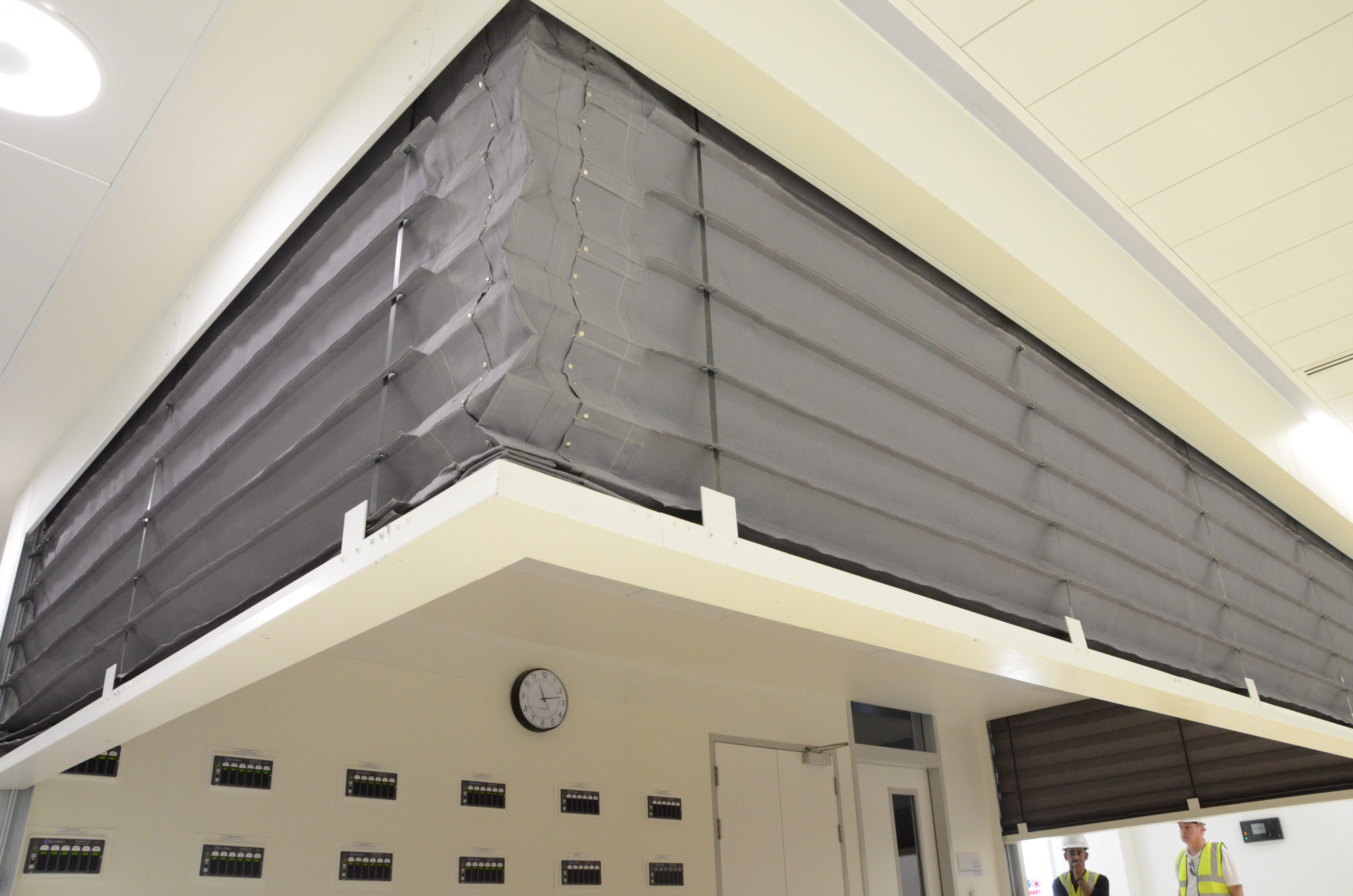 FireMaster Concertina Fire Curtain in a hospital