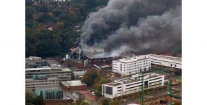 University of Southampton Mountbatten Building on Fire