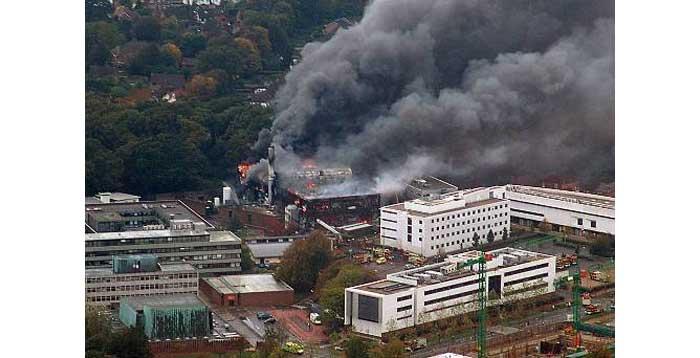 University of Southampton Mountbatten Building on fire