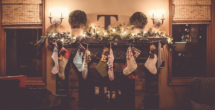 Christmas decorations over a fireplace