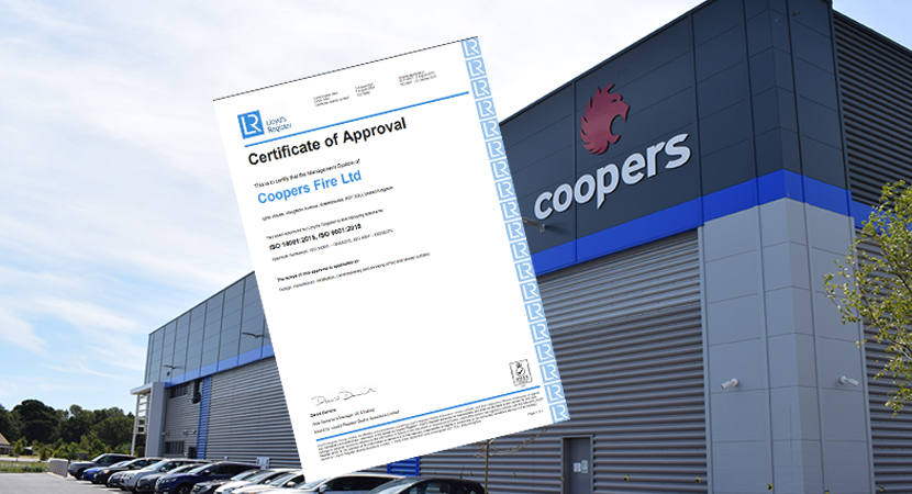 Coopers Fire are re-certified for ISO 9001 and ISO 14001